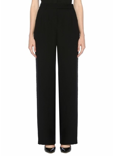 Beymen Collection Yüksek Bel Yanı İşlemeli Krep Pantolon Siyah